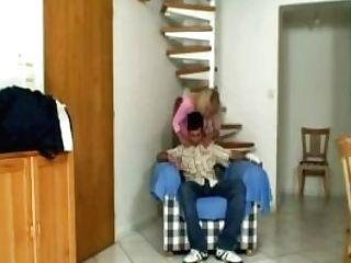 Blonde Granny In Milky Underwear Pleases Son-in-law-in-law