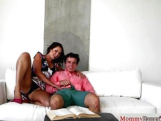 Huge-chested Stepmom Jerking In Taboo Trio
