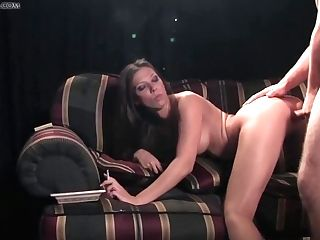Supah Hot Dark-haired With Big Tits Is Smoking And Sucking Knob, Because It Perceives Good