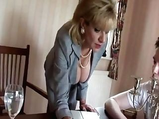 Brit Mummy Taunts Youthful Lad With Her Tits