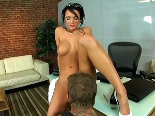 Utterly Sexy Black-haired Gets Fucked And Deep-throats The Dick To The Tattooed Dude