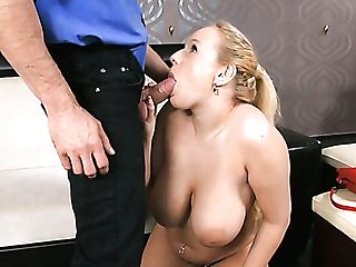 Buxom Blonde Hoe Angel Wicky Tit Fucks Hard Dick And Deep-throats It