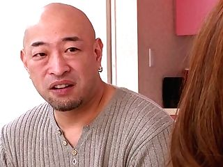 Bald Headed Japanese Man Gets Blow-job Performed By Non-traditional Maki Sarada