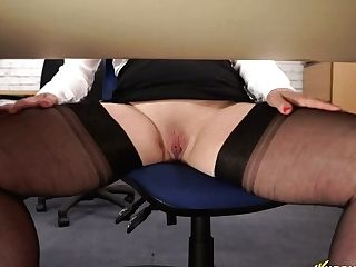 Office Biotch Lucy Gresty Spreads Gams Broad Open And Shows Off Her Coochie Upskirt