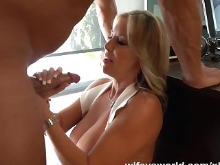 Wifey Inhales Two Sausages To Get Jizm Tits